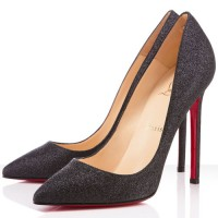 Christian Louboutin Pigalle 120mm Glitter Pumps Black
