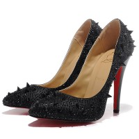 Christian Louboutin Pigalle Spikes 120 Strass Pumps Black