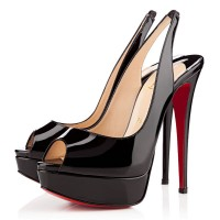 Christian Louboutin Lady Peep Sling 150mm Slingbacks Black