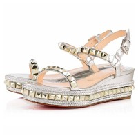 Christian Louboutin Cataclou 60mm Leather Wedges Silver