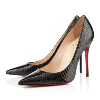 Christian Louboutin Decollete 554 100mm Watersnake Black