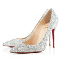 Christian Louboutin Decollete 554 100mm Strass Silver