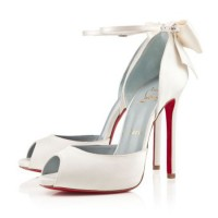 Christian Louboutin Dos Noeud 120mm Satin Off White