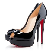 Christian Louboutin Lady Peep 150mm Patent Pumps Black