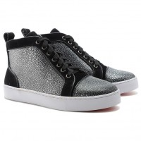 Christian Louboutin Louis Jeweled High Top Sneakers Black