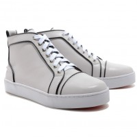 Christian Louboutin Louis Jeweled High Top Sneakers White