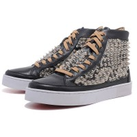 Men's Christian Louboutin Louis Spikes High Top Sneakers Black