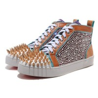 Men's Christian Louboutin Louis Spikes High Top Sneakers Multicolor