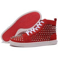 Men's Christian Louboutin Louis Spikes High Top Sneakers Red