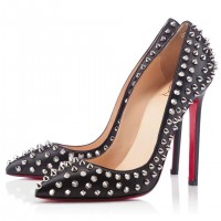Christian Louboutin Pigalle Spikes 120mm Pumps Black/Silver
