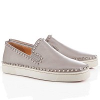 Men's Christian Louboutin Pik Boat Flats Light Blue
