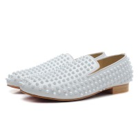 Men's Christian Louboutin Rollerboy Spikes Suede Flat White