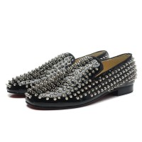 Men's Christian Louboutin Rollerboy Spikes Patent Loafers Black