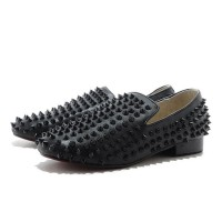 Men's Christian Louboutin Rollerboy Spikes Leather Loafers Black