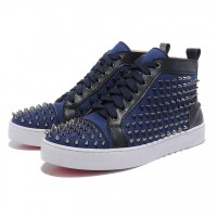 Men's Christian Louboutin Spikes Canvas Sneakers Blue