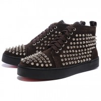 Men's Christian Louboutin Spikes Sneakers Chocolate