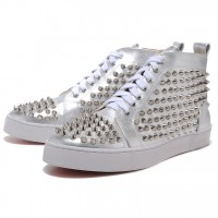 Men's Christian Louboutin Spikes Silvery Sneakers White