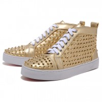 Men's Christian Louboutin Spikes Sneakers Gold
