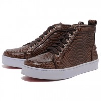 Men's Christian Louboutin Louis Flat Python Sneakers Chocolate