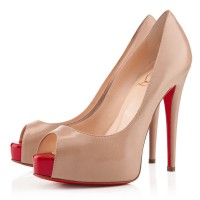 Christian Louboutin Vendome 120mm Peep Toe Pumps Nude/Red