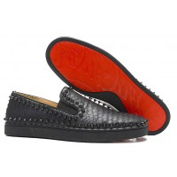 Men's Christian Louboutin Pik Boat Flats Black