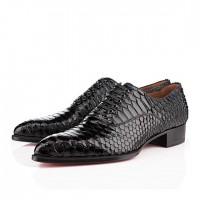 Men's Christian Louboutin Platers Python Flat Black