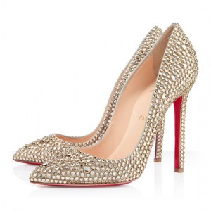 Christian Louboutin Pigalle 120mm Strass Pumps Gold
