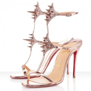 Christian Louboutin Lady Max 100mm Patent Sandals Nude