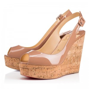 Christian Louboutin Une Plume Sling 120mm Wedges Nude