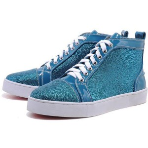 Men's Christian Louboutin Louis Strass High Top Sneakers Blue