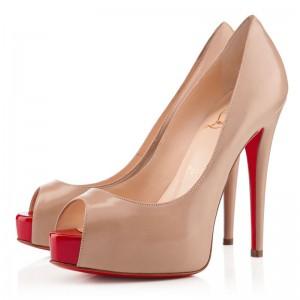 Christian Louboutin Vendome 120mm Peep Toe Pumps Nude/Red
