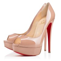 Christian Louboutin Lady Peep 150mm Patent Pumps Nude