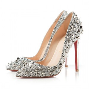 Christian Louboutin Pigalili 120mm Pumps Silver