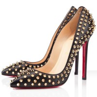 Christian Louboutin Pigalle Spikes 120mm Pumps Black/Gold