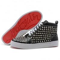 Men's Christian Louboutin Louis Silver Spikes High Top Sneakers Black