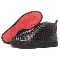 Men's Christian Louboutin Louis Spikes High Top Sneakers Chocolate