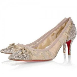 Christian Louboutin Souris Strass 70 Crystal Pumps Beige