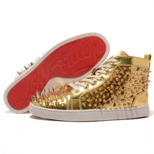 Men's Christian Louboutin Louis Pik Pik High Top Sneakers Gold