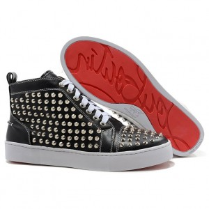 Christian Louboutin Louis Silver Spikes High Top Sneakers Black
