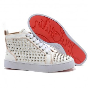 Christian Louboutin Louis Silver Spikes High Top Sneakers White