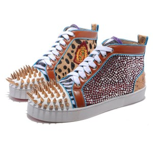 Men's Christian Louboutin Sneakers Gold Coloured Diamond