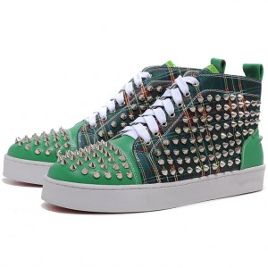Men's Christian Louboutin Spikes Leather Canvas Sneakers Green