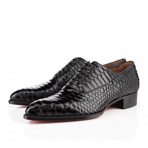 Men's Christian Louboutin Platers Python Flat Black