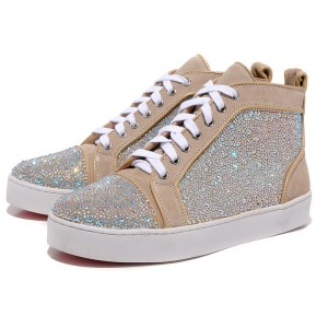 Men's Christian Louboutin Louis Strass High Top Sneakers Taupe