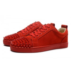 Men's Christian Louboutin Louis Studded Top Sneakers Red