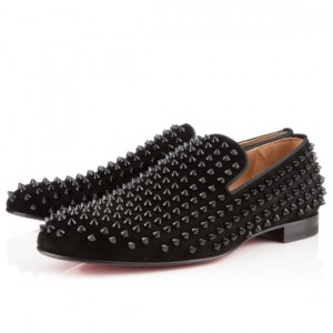 Men's Christian Louboutin Rollerboy Spikes Suede Flat Black